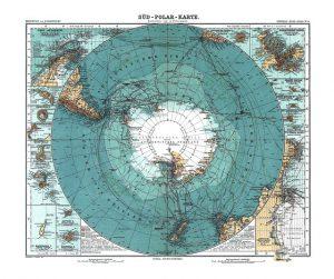 Antarctica Map Old  Poster Art